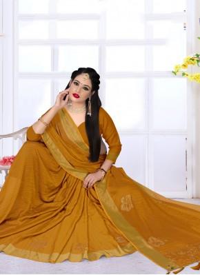 Fabulous Mustard Satin Silk Bollywood Saree