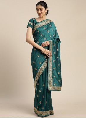 Fabulous Turquoise Sangeet Designer Saree