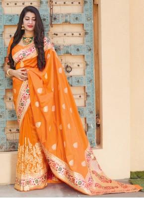 Fabulous Weaving Silk Orange Designer Traditional Saree
