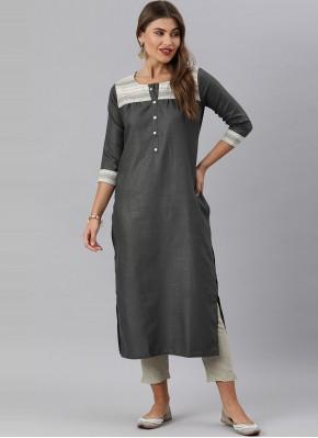 Fancy Blended Cotton Party Wear Kurti in Grey