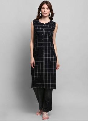 Fancy Cotton Party Wear Kurti in Black