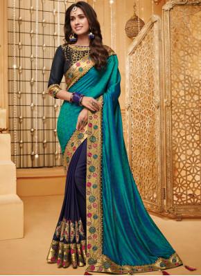 Fancy Fabric Blue Classic Saree