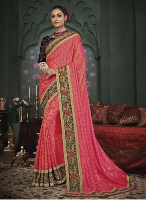 Fancy Fabric Classic Designer Saree in Pink