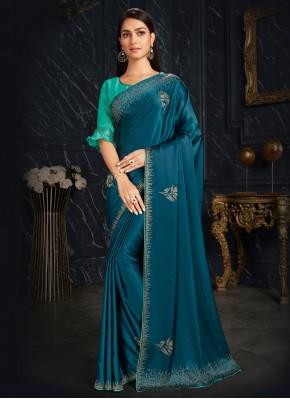 Fancy Fabric Classic Designer Saree in Teal