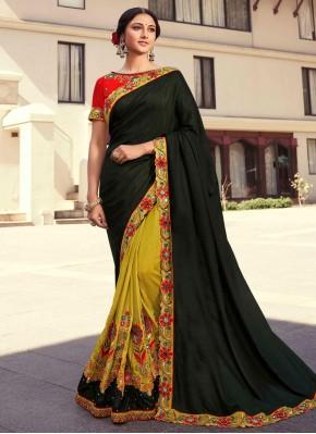 Fancy Fabric Designer Half N Half Saree in Black and Mustard