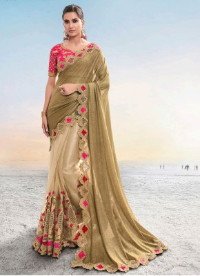 Fancy Fabric Designer Saree in Brown