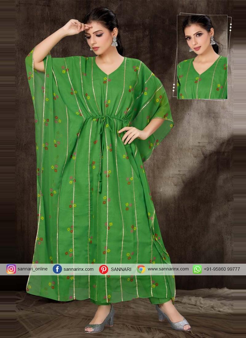 Fancy Fabric Green Print Party Wear Kurti