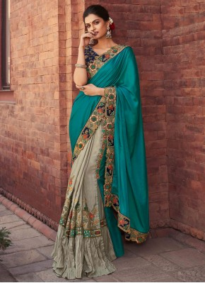 Fancy Fabric Grey and Rama Designer Half N Half Saree