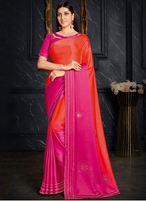 Fancy Fabric Hot Pink and Orange Fancy Shaded Saree