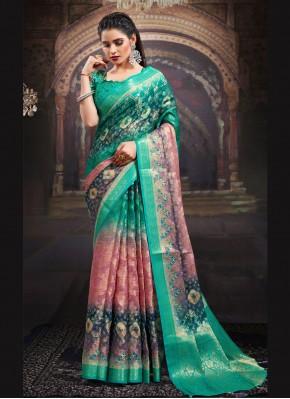 Fancy Fabric Multi Colour Digital Print Designer Saree