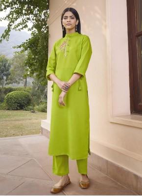 Fancy Fabric Party Wear Kurti in Green