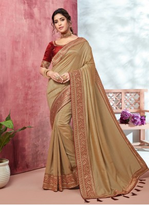 Fancy Fabric Patch Border Brown Classic Saree