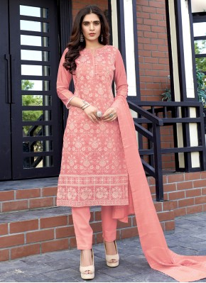 Fancy Fabric Pink Weaving Readymade Suit