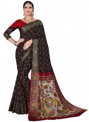 Fancy Fabric Printed Black Traditional Saree