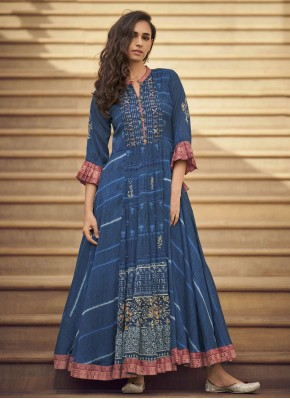 Fancy Fabric Printed Party Wear Kurti in Blue
