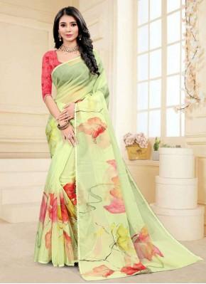 Fancy Fabric Printed Saree in Green