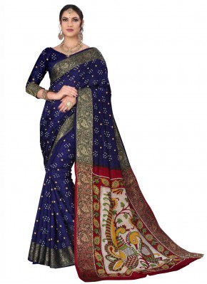 Fancy Fabric Printed Traditional Designer Saree in Blue