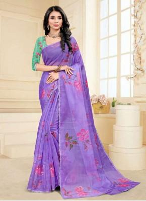 Fancy Fabric Purple Digital Print Printed Saree