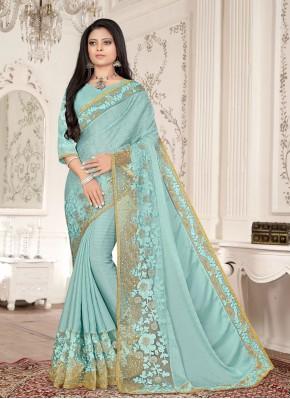 Fancy Fabric Resham Designer Saree in Aqua Blue
