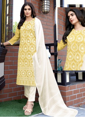 Fancy Fabric Sequins Readymade Suit in Yellow