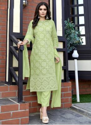 Fancy Fabric Weaving Green Readymade Suit