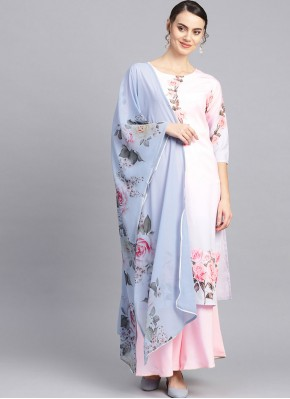 Fancy Faux Crepe Readymade Suit in Pink