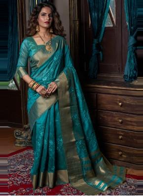 Fancy Handloom silk Traditional Designer Saree in Rama