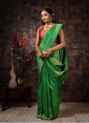Fancy Raw Silk Designer Traditional Saree in Green