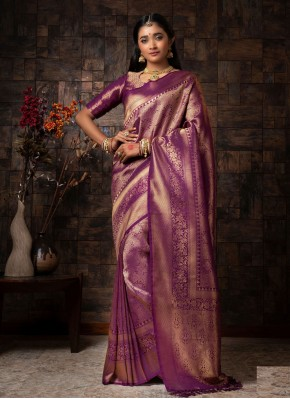 Fancy Raw Silk Designer Traditional Saree in Purple