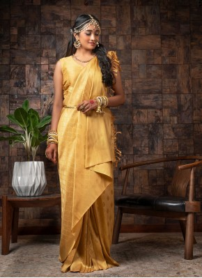 Fancy Raw Silk Traditional Designer Saree in Yellow