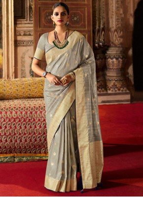 Fancy Silk Designer Traditional Saree in Grey