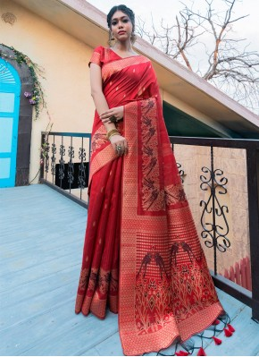 Fancy Tussar Silk Traditional Saree in Red