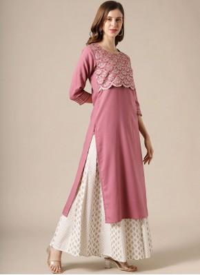 Fancy Viscose Party Wear Kurti in Pink