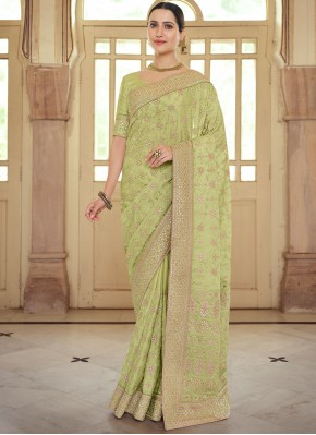 Fantastic Georgette Satin Green Contemporary Saree