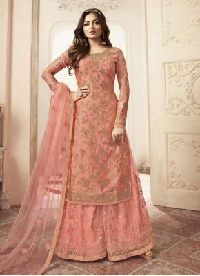 Fantastic Jacquard Peach Salwar Suit