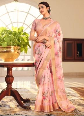 Fantastic Linen Festival Printed Saree