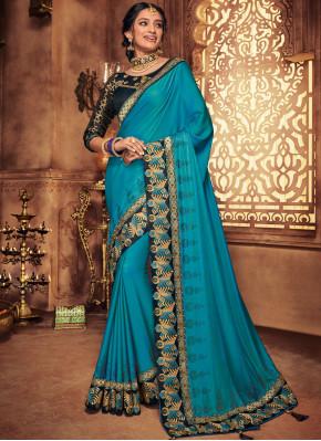 Fascinating Art Silk Blue Patch Border Designer Traditional Saree