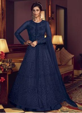 Fascinating Blue Embroidered Designer Floor Length Suit