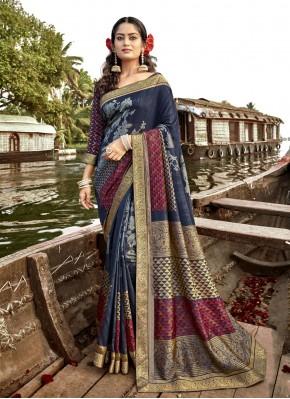 Fascinating Blue Vichitra Silk Trendy Saree