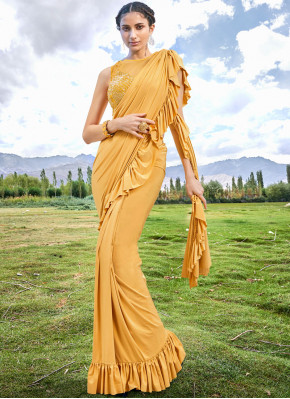 Fascinating Embroidered Fancy Fabric Mustard Designer Traditional Saree