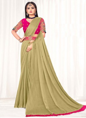 Fascinating Faux Chiffon Beige Embroidered Classic Saree