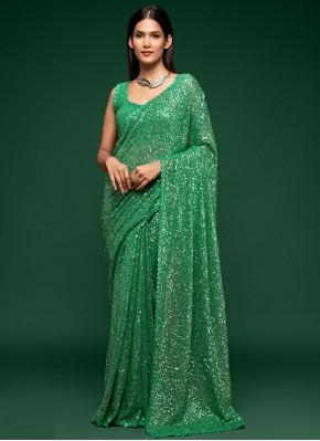 Fascinating Faux Georgette Green Classic Designer Saree