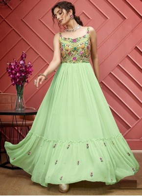 Fascinating Hand Embroidery Designer Floor Length Suit