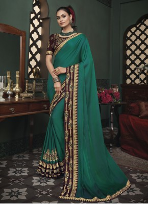 Fascinating Patch Border Fancy Fabric Green Classic Saree