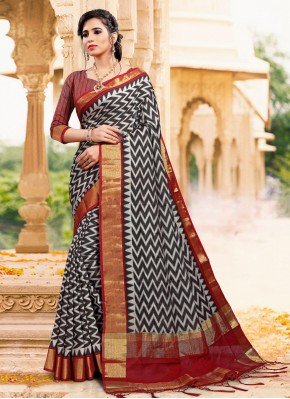 Fascinating Printed Black Casual Saree