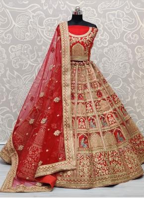Fascinating Red Sangeet Lehenga Choli