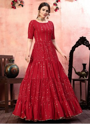 Fascinating Red Sequins Designer Gown