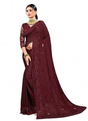 Fascinating Resham Georgette Satin Maroon Designer Saree