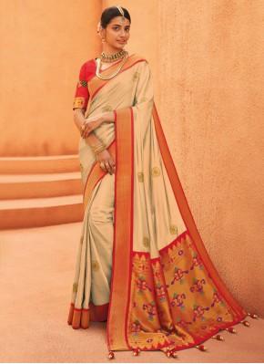 Fascinating Silk Beige Weaving Designer Traditional Saree