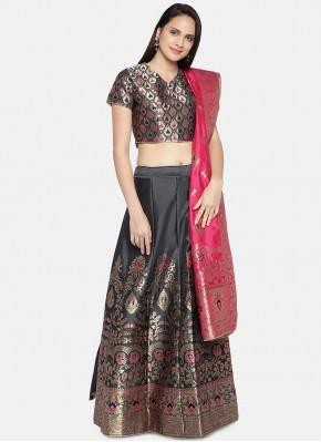 Fashionable Black Woven Lehenga Choli